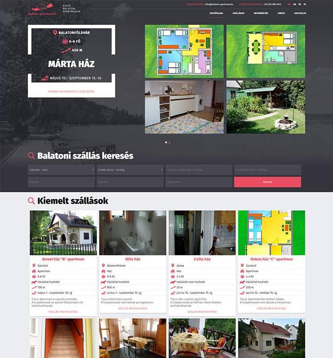 Balaton-apartman.hu kiadó balatoni szállások reszponzív weboldal készítése