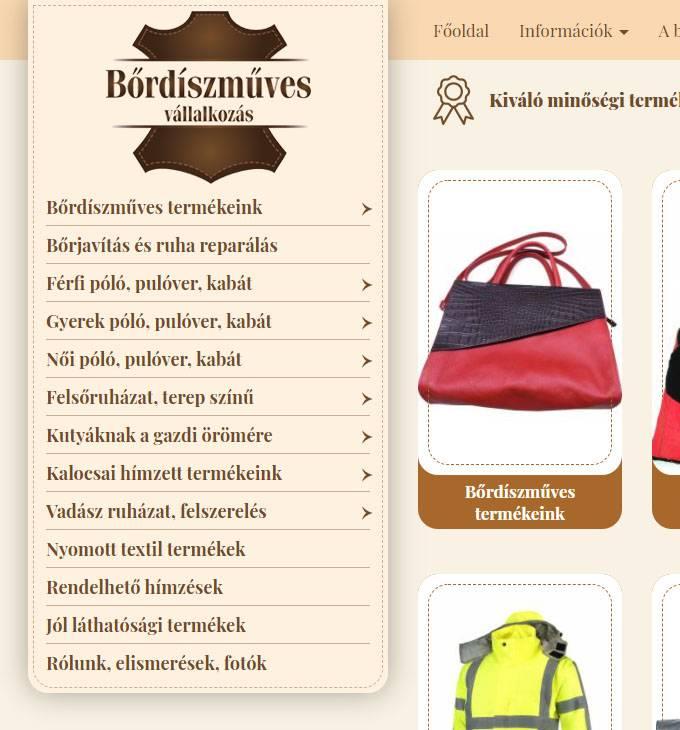 Webshop.bordiszmuves.hu - Bőrdíszműves webáruház - reszponzív webáruház készítés