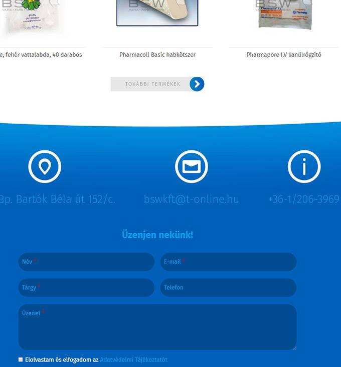 Bswkft.hu - Textilipari termékek gyártása és forgalmazása - reszponzív honlapkészítés