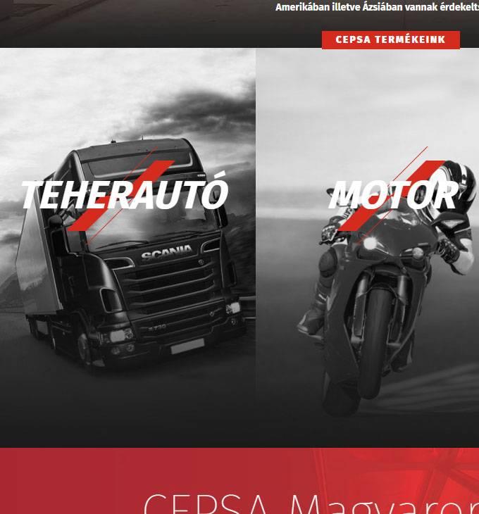 Cepsa.hu prémium minőségű motorolajok - reszponzív honlap készítés