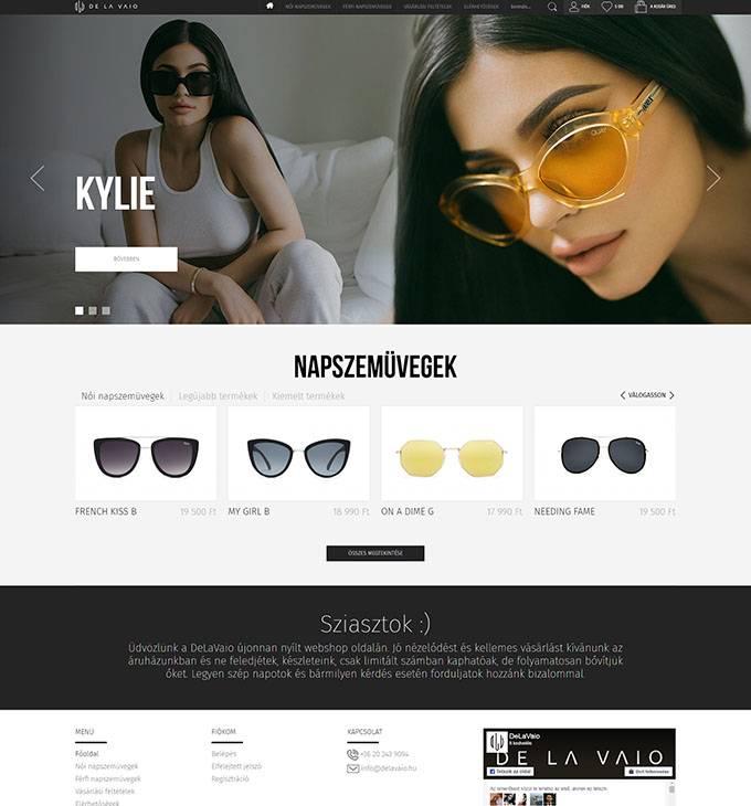 Delavaio.com férfi és női napszemüvegeket forgalmazó webshop készítés