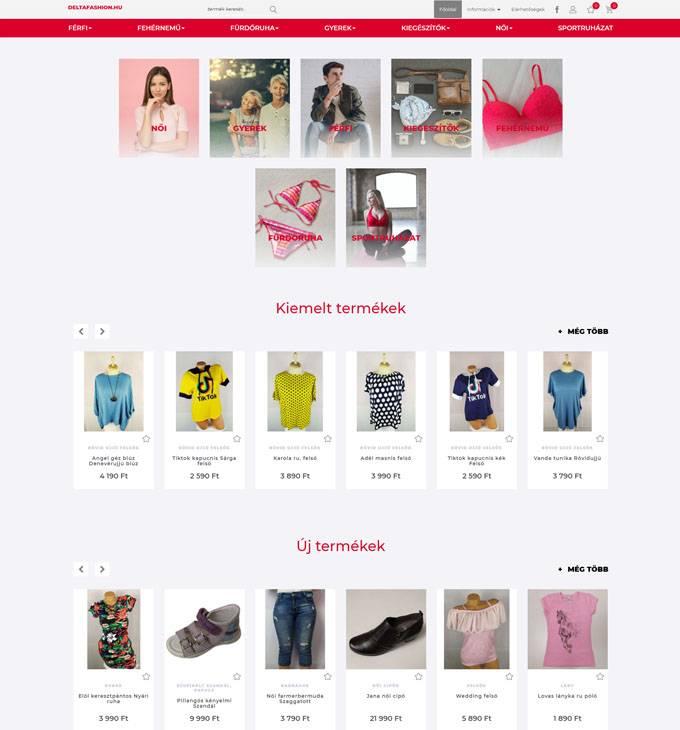 Deltafashion.hu - Divatos férfi, női, gyerek ruházat - reszponzív webáruház készítés