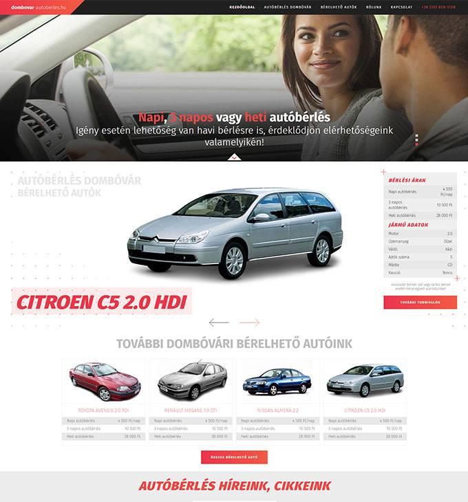 Autó bérbeadással foglalkozó cég bemutatkozó weboldalának készítése