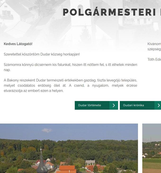 Dudar.hu - Dudar Község - reszponzív honlap készítés