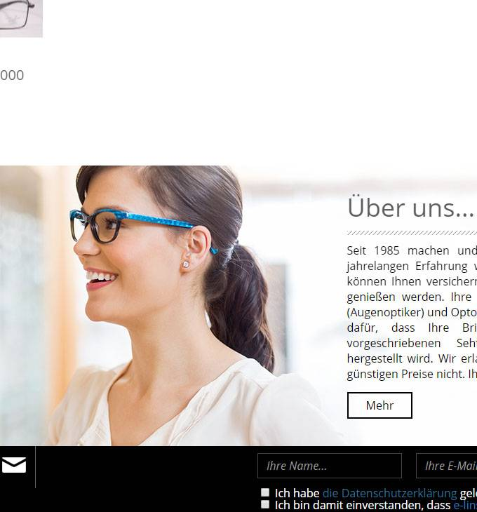 E-linse.de - Online optiker - reszponzív webáruház készítés