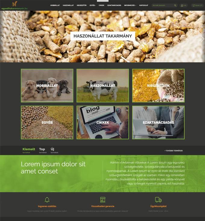 Egyeditakarmanyok.hu - Egyedi takarmányok reszponzív webáruház készítés