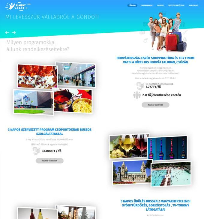 Élményvásár.hu - egyedi programszervezés - reszponzív honlapkészítés
