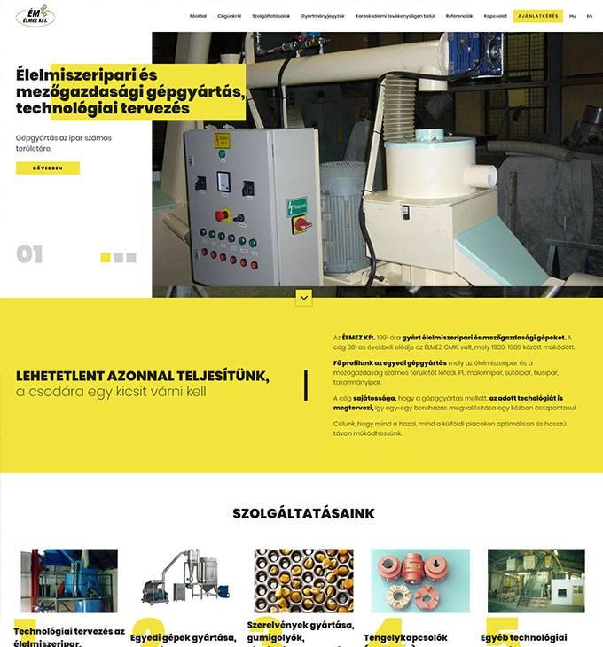 Elmezkft.hu - Élelmiszeripari és mezőgazdasági gépgyártó - reszponzív honlapkészítés