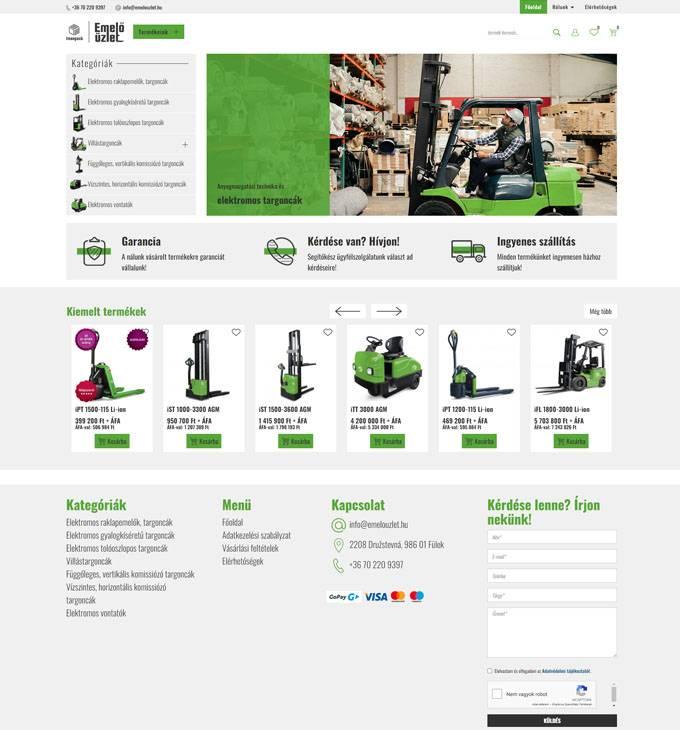 Emelouzlet.hu - Targoncák és vontatók webáruháza - reszponzív webáruház készítés