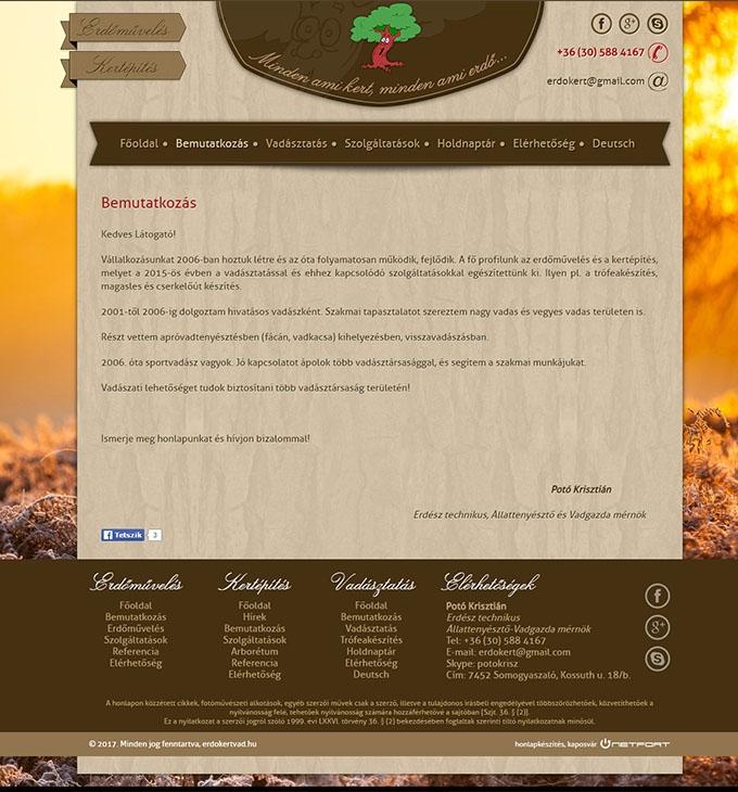 Erdőművelés, kertépítés, vadásztatás céges bemutatkozó honlap készítés