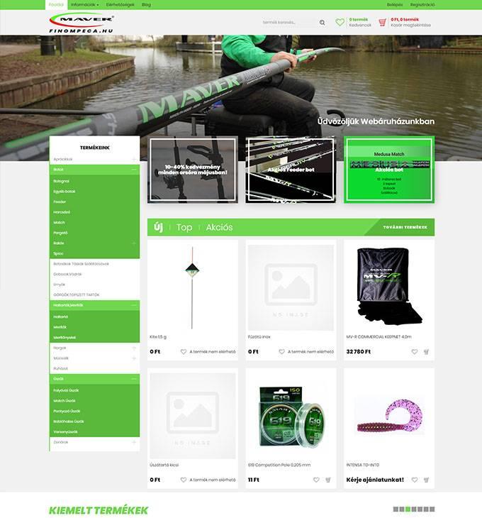 Finompeca.hu - reszponzív horgász webáruház készítés