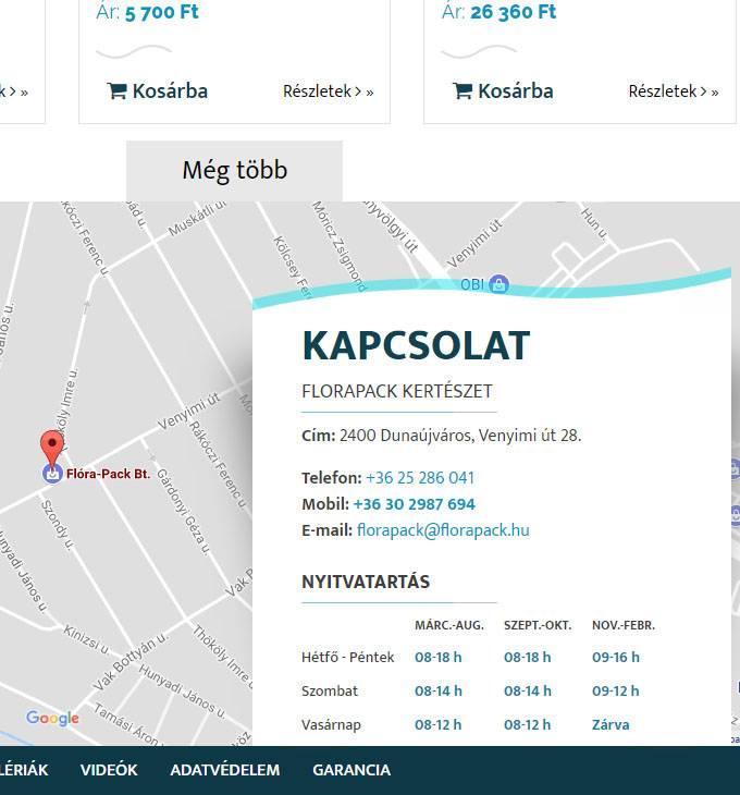 Florapack.hu mobil barát kertészeti webáruház készítés