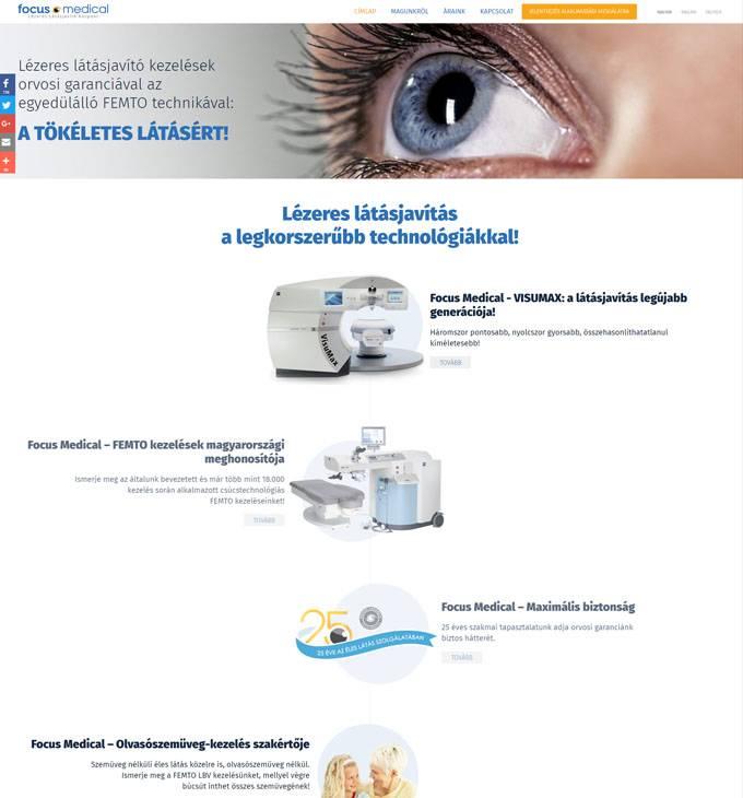 Focusmed.hu - Lézeres Látásjavító Központ reszponzív honlapkészítése
