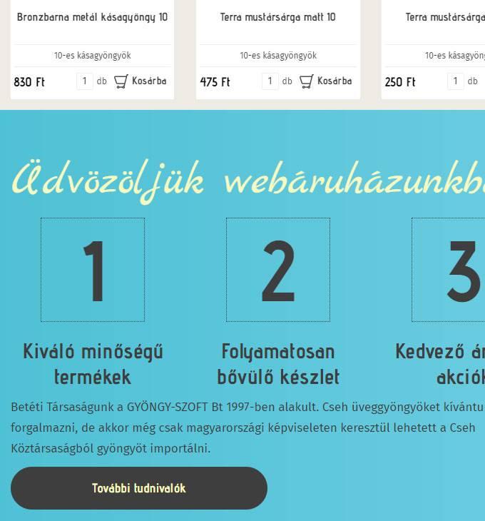 Gyongyszoft.hu - cseh üveggyöngyök reszponzív webáruháza