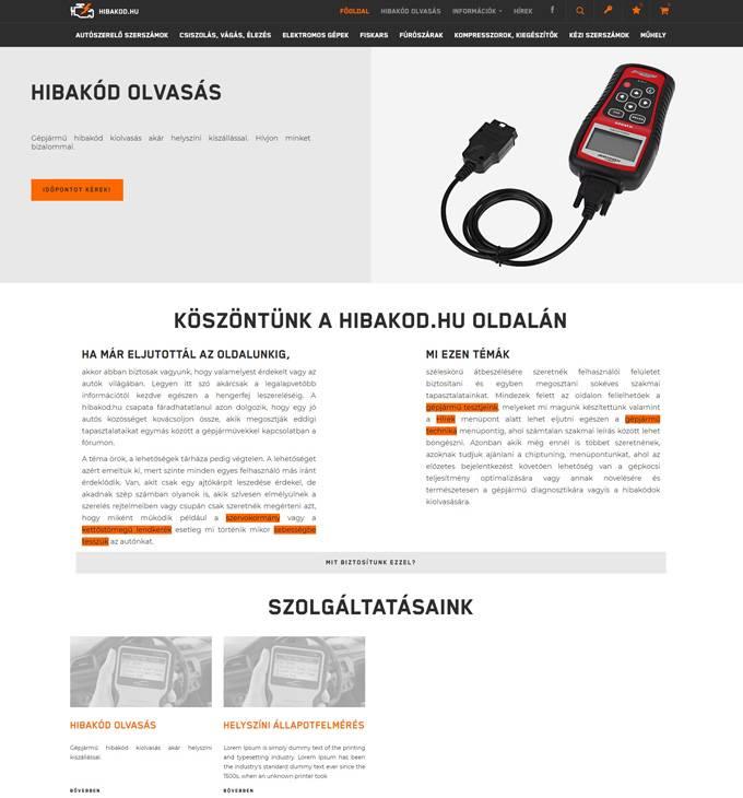 Hibakod.hu - Hibakód olvasás - reszponzív webáruház készítés