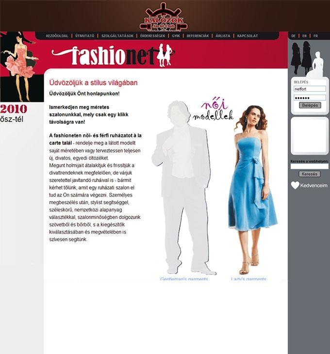 Honlapkészítés, weboldal programozás: fashionet.hu