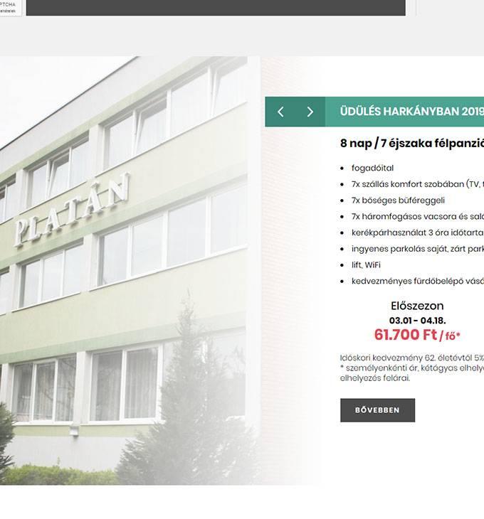 Hotelplatan.com - Komfort Hotel Platán - reszponzív honlapkészítés