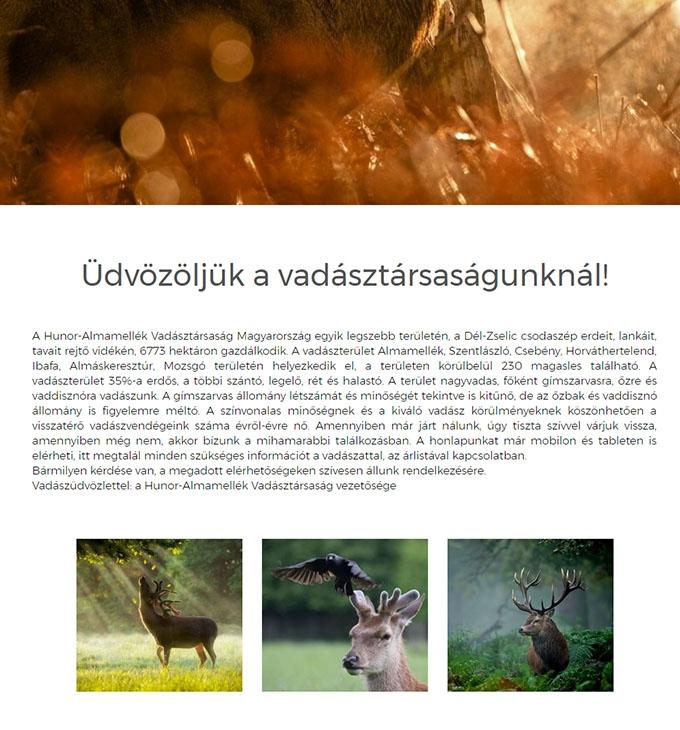 Hunor-Almamellék Vadásztársaság bemutatkozó honlap
