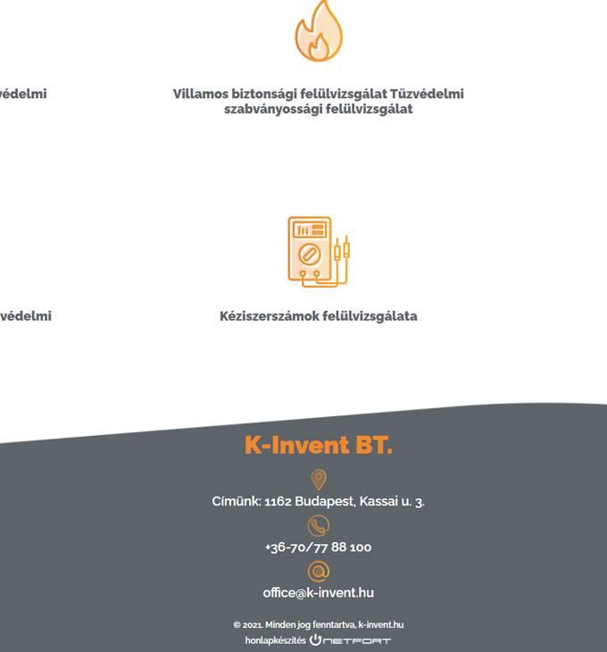 K-Invent.hu - Érintésvédelem, villámvédelem, tűzvédelem - reszponzív honlapkészítés