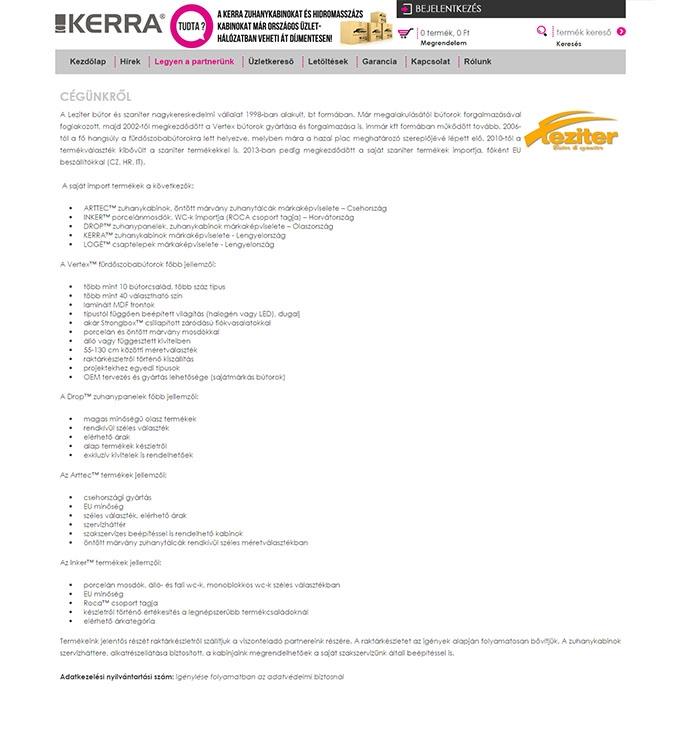Kerra.hu nagykereskedelmi szaniter reszponzív webáruház készítése