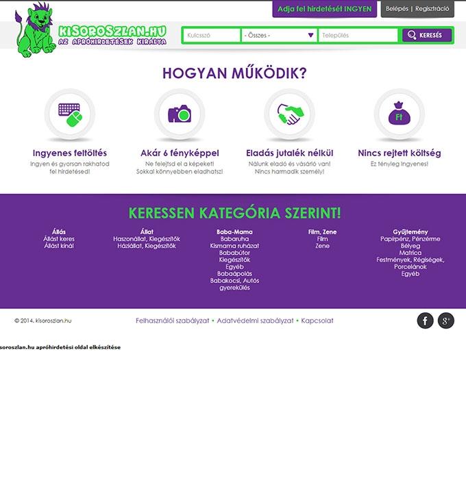 Kisoroszlan.hu apróhirdetési honlap készítés