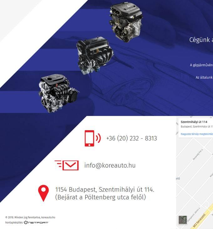 Koreauto.hu - Kia, Hyundai, Mitsubishu autóalkatrész kereskedelem - reszponzív honlapkészítés