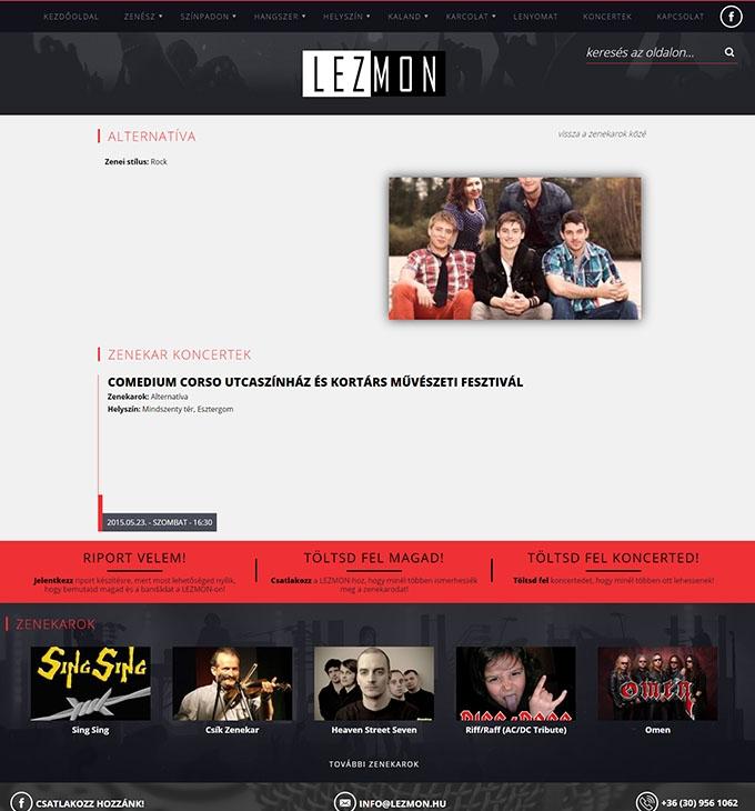 Lezmon.hu magyar élőzenével foglalkozó reszponzív hírportál készítése