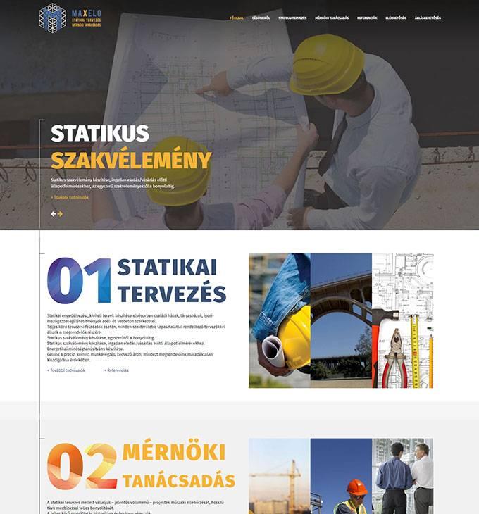 Maxelo.hu statikai tervezés és mérnöki tanácsadás bemutatkozó honlap készítés