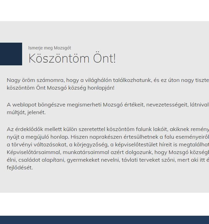 Mozsgo.hu - Mozsgó - reszpoznív honlapkészítés