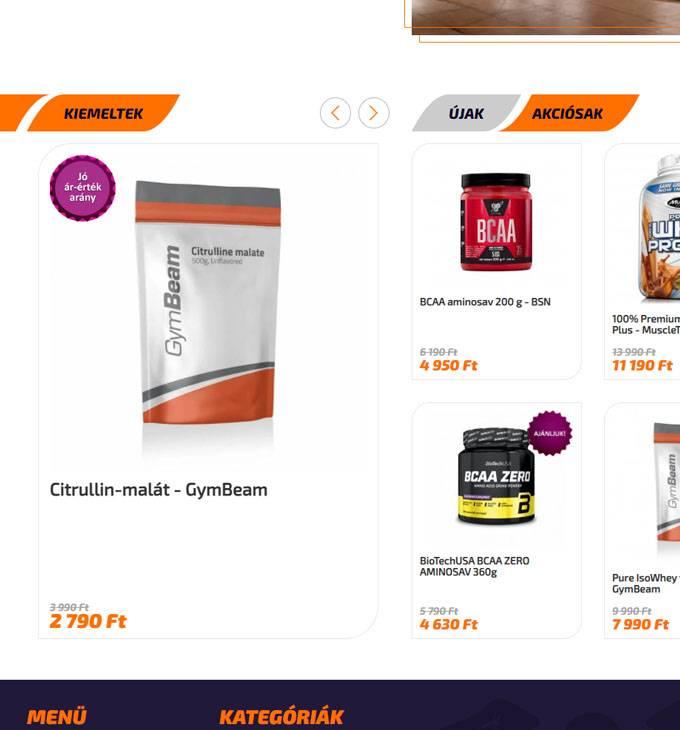 Naturalfit.hu - étrendkiegészítők - reszponzív webáruház készítés