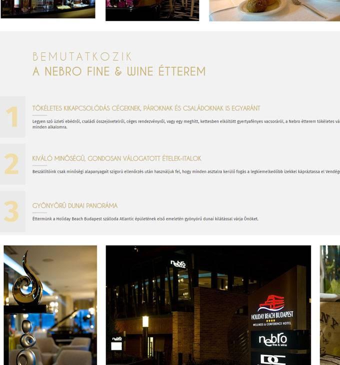 Nebro.hu budapesti étterem - reszponzív honlapkészítés
