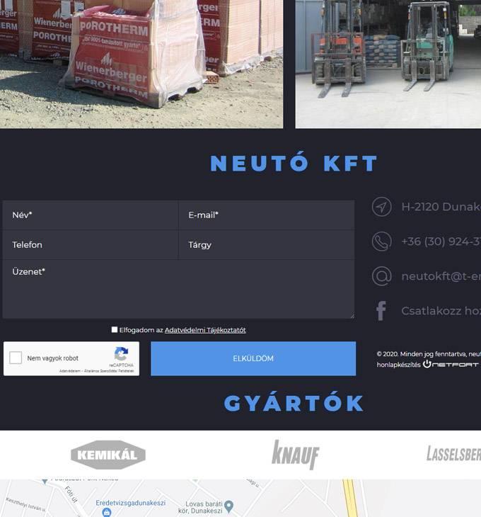 Neuto.hu - Építőanyag kereskedés - reszponzív honlapkészítés