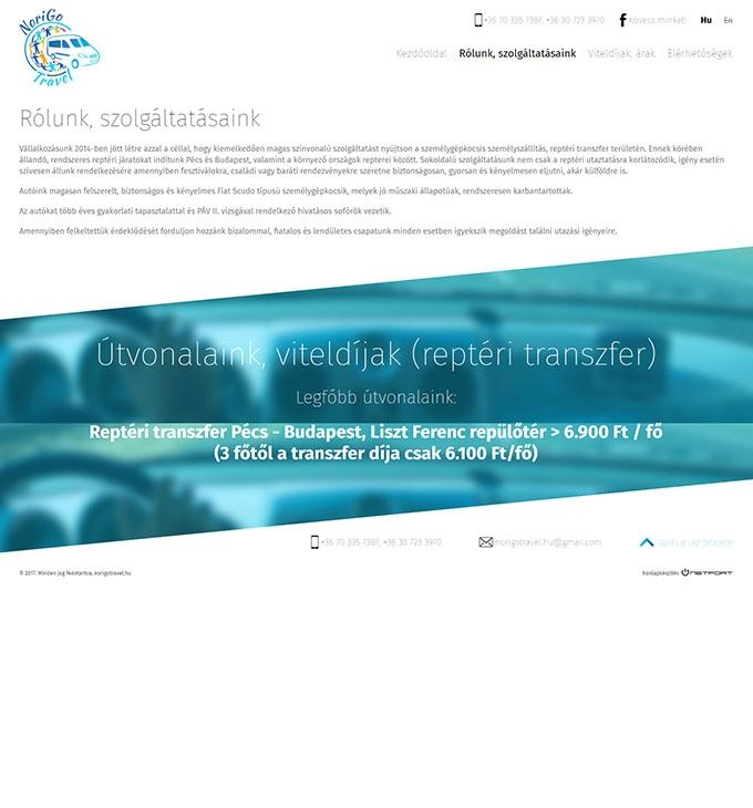 Norigotravel.hu reptéri transzfer - bemutatkozó reszponzív weboldal készítés