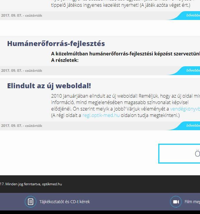 Optikmed.hu megújítása, egyedi honlapkészítés