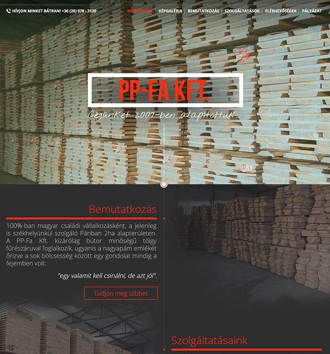 Ppfa.hu céges bemutatkozó honlap készítése