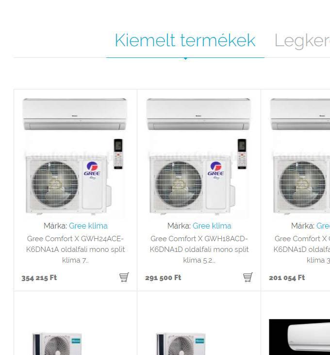 Profiklimaszereles.hu klíma értékesítés és szerelés - reszponzív webáruház készítés