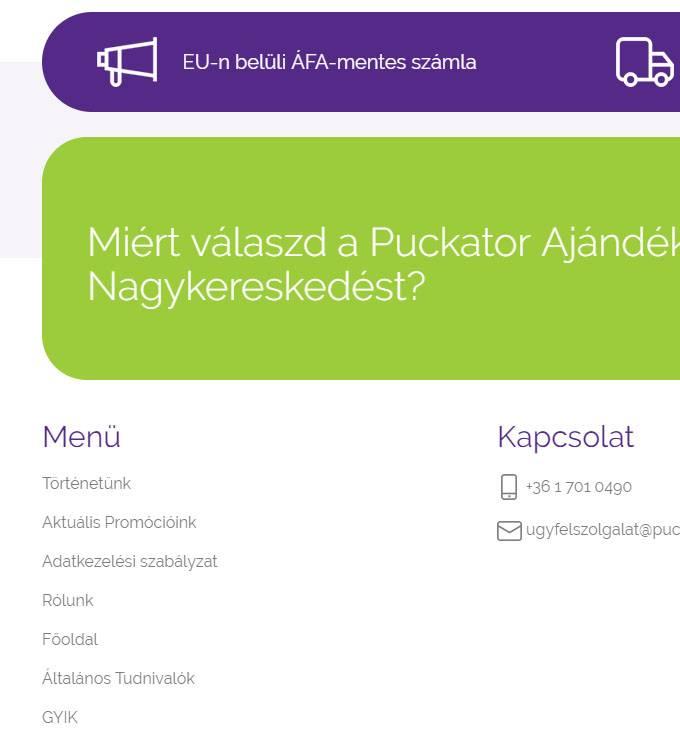 Puckator.hu - ajándék nagykereskedés - reszponzív webáruház készítés