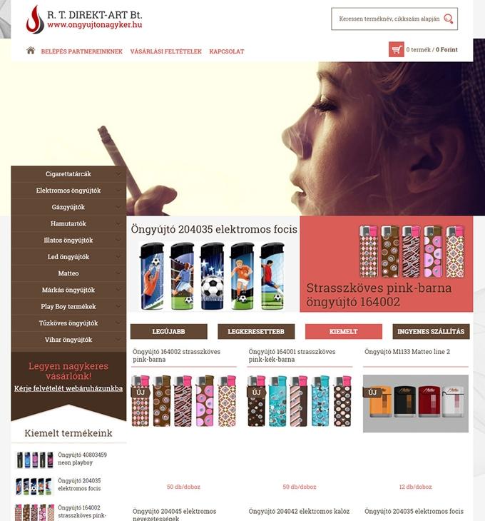 Öngyújtónagyker.hu mobilbarát webáruház elkészítése