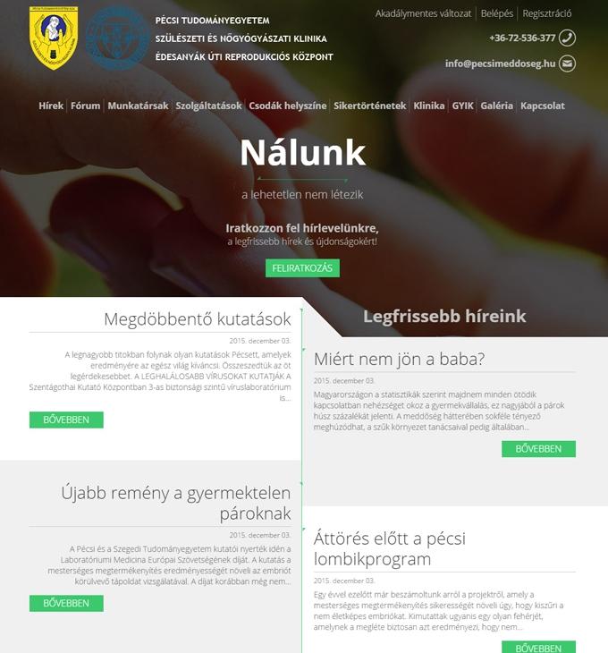 Pecsimeddoseg.hu weboldal megújítása, reszponzív honlap kialakítása