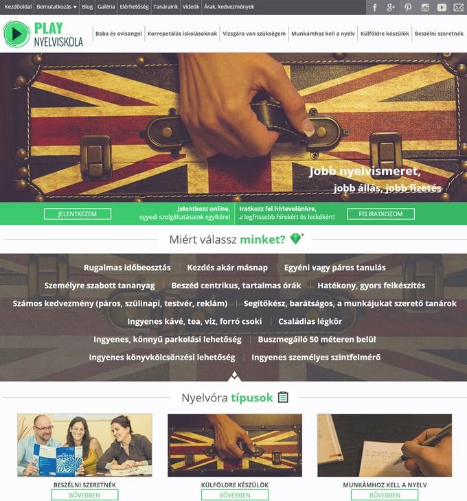 PLAY nyelviskola bemutatkozó weboldala