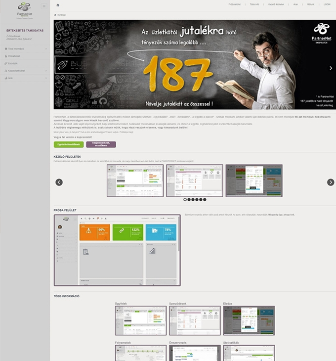 PartnerNet értékesítés támogató szoftver reszponzív bemutatkozó weboldal elkészítése