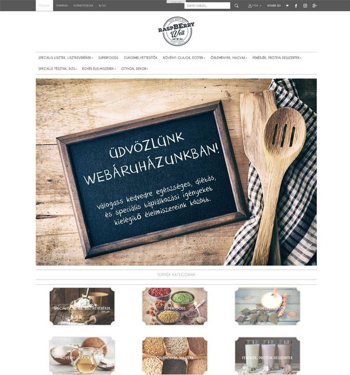 Rwshop.hu - Egészséges és speciális élelmiszereket árusító reszponzív webáruház készítés