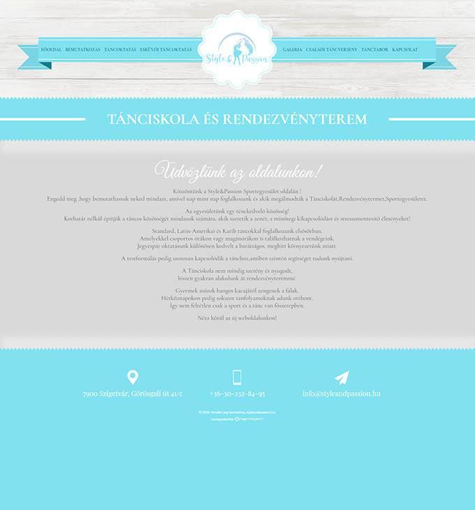 Styleandpassion.hu - Tánciskola, táncoktatás Szigetvár - Reszponzív honlapkészítés