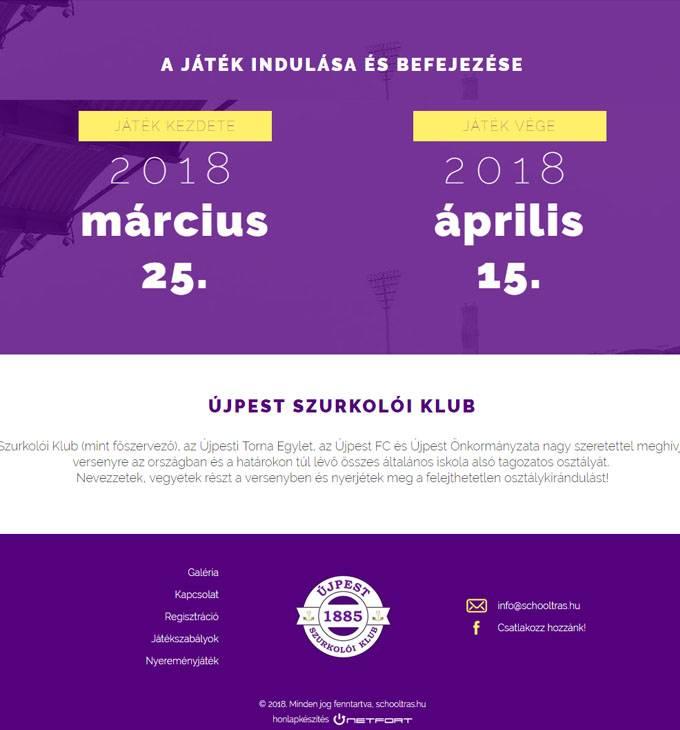 Schooltras.hu - Újpest Szurkolói Klub vetélkedő alsó tagozotosoknak - reszponzív honlapkészítés