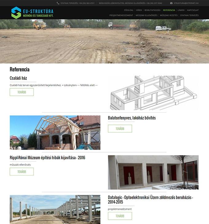 Eustruktura.hu bemutatkozó céges honlapkészítés