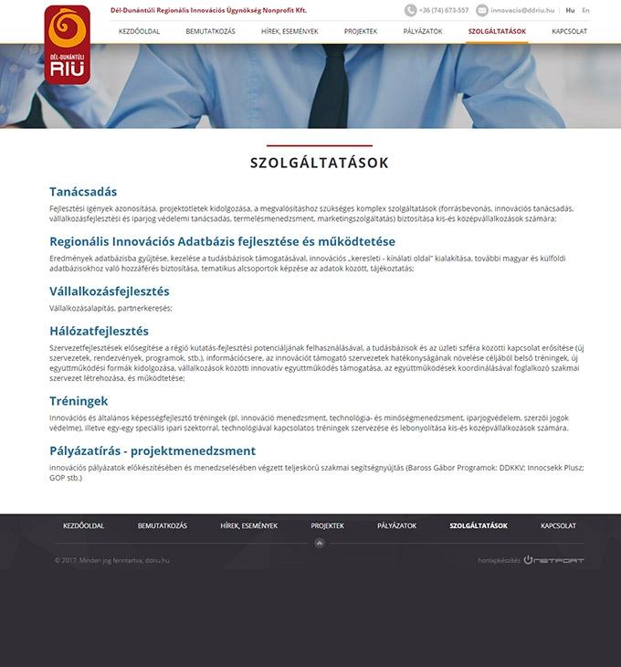 Ddriu.hu - Innovációs ügynökségnek bemutatkozó honlap készítés