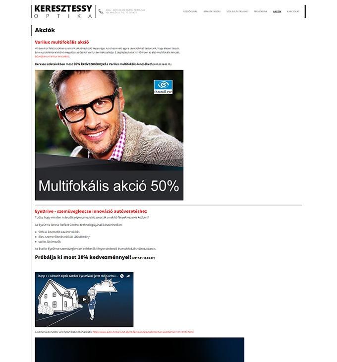 Keresztessyoptika.hu reszponzív bemutatkozó weboldal készítés