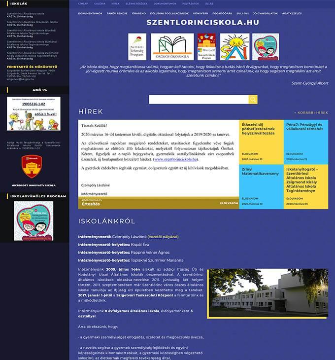 Szentlorinciskola.hu - Szentlőrinci iskolák - Reszponzív honlapkészítés