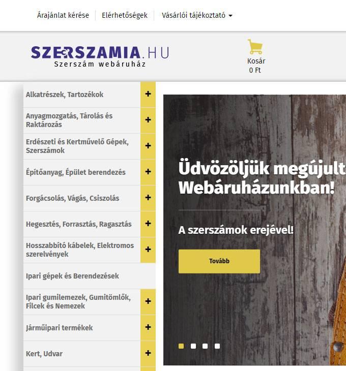 Szerszamia.hu - reszponzív szerszám webáruház készítés