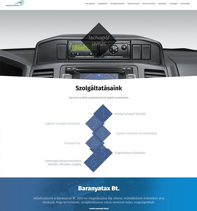 A pécsi Baranyatax Bt. bemutatkozó weboldalának megújítása